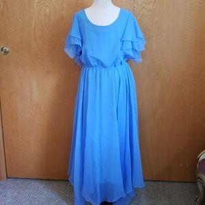 Blue Chiffon Dress Vintage 50's Prom Style Size 6